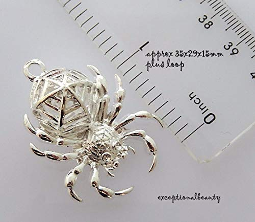 (Pendant Jewelry Making Bright Silver Spider Spiderweb Hollow Web Cutout Halloween Bead Drop)