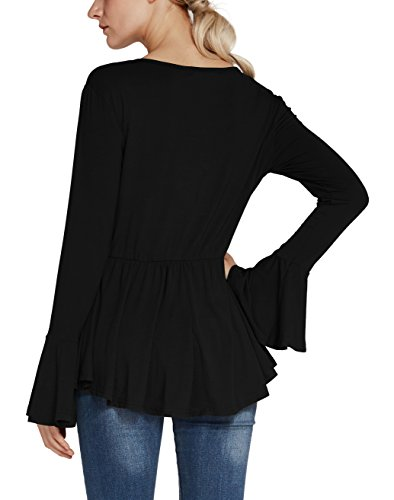 Urban GoCo - Camisas - Túnica - Básico - con botones - para mujer negro