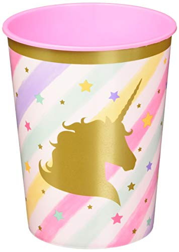 Creative Converting 329303 Unicorn Sparkle 12-Count Plastic Keepsake Party Cups -