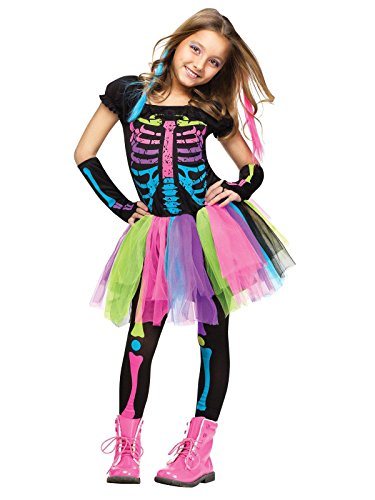 Girls Costumes (Funky Punk Skeleton Kids Costume)