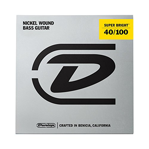 Dunlop DBSBN40100 Super Bright Bass Strings, Nickel Wound, Light, .040–.100, 4 Strings/Set (String Mount Rear)