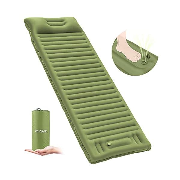 YISSVIC Isomatte Camping Selbstaufblasbare Luftmatratze mit eingebauter Pumpe Verdickte Schlafmatte Outdoor mit Kissen…