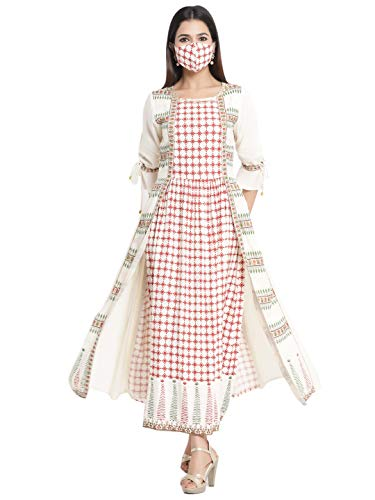 Juniper Ivory Rayon Printed A-Line Dress with Mask