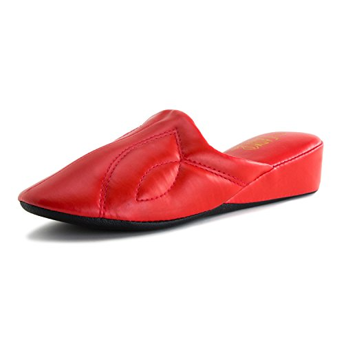 Womens Vinyl House Slippers (Adults) Red