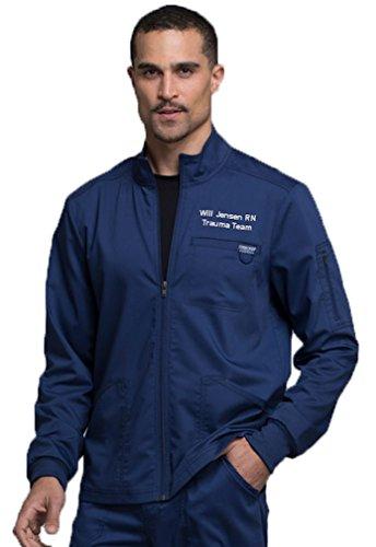 Embroidered Cherokee Men's Zip up Solid Scrub Jacket Navy