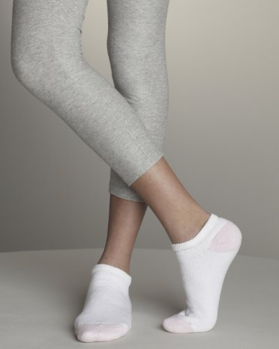 Gildan Ladies No-Show Socks>3-9 WHITE/PINK GL611