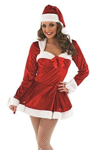 Ladies Sexy Christmas Mrs Missy Claus Santa Fancy Dress Costume Outfit UK 8-22 Plus Size (UK 8-10) -