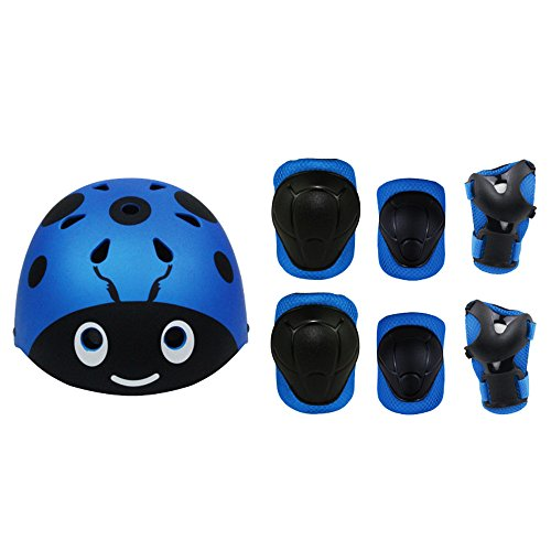 Lucky-M Kids 7 Pieces Outdoor Sports Protective Gear Set Boys Girls Cycling Helmet Safety Pads Set [Knee&Elbow Pads and Wrist Guards] for Roller Scooter Skateboard Bicycle(3-8Years Old) (Blue-ladybug)