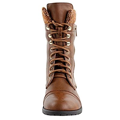 Forever Link Womens Mango-31 Round Toe Military Lace Up Knit Ankle Cuff Low Heel Combat Boots Brown 8 | Ankle & Bootie