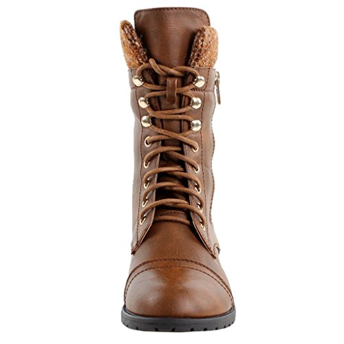 Forever Link Womens Mango-31 Runde Zehe Military Lace Up Knit Knöchel Manschette Low Heel Combat Boots Tan Pu