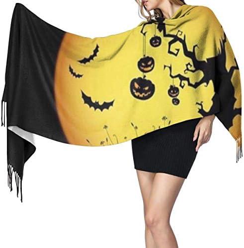 Wickelschal Große Schals Fransenschal Horrible Halloween Night Long Blanket Scarf For Women, Fashion Tassel Shawls Wraps Scarf, Soft Cashmere Feeling Warm Winter