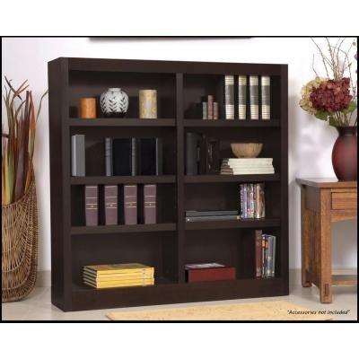 Concepts in Wood Midas Double Wide 8-Shelf Bookcase in Espresso (48 Inch Wide Bookcase)