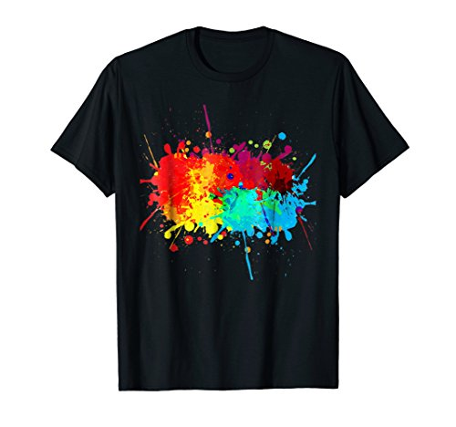 Colorful Paint Splatter Shirt Gift for Women Men Neon Party -