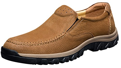 CFP 8275 Mens Slip On Sneakers Leisure Cozy Charming Comfy Multi-Bussiness Leather Loafers Brown UK Size 8.5 XnZYR0d3N