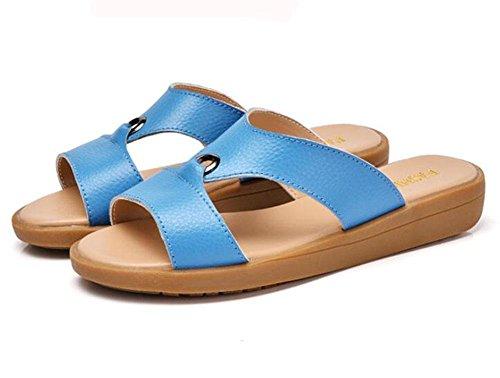KUKI Damen Sandalen lässig mit flachen Sandalen blue