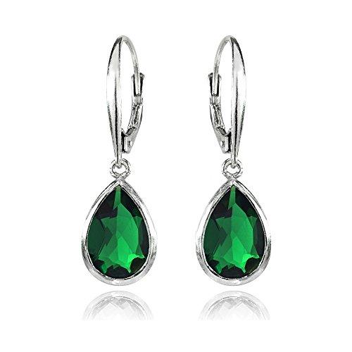 - Sterling Silver Simulated Emerald Teardrop Dainty Leverback Dangle Earrings