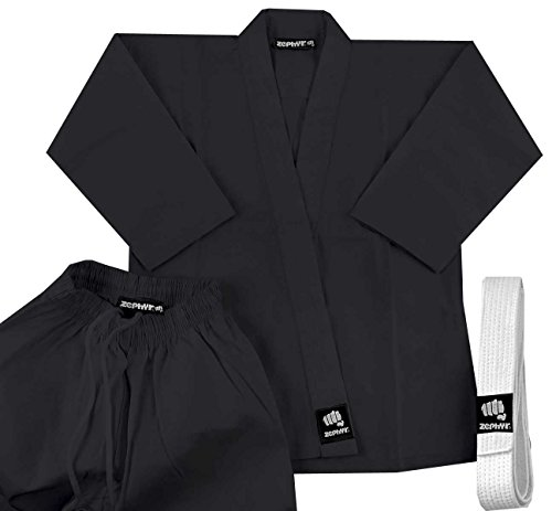 Zephyr Martial Arts 7.5 oz. Karate Gi Student Uniform with Belt - Black - 0