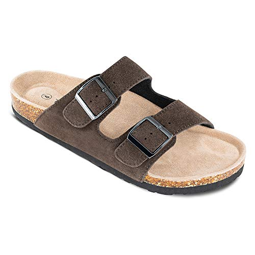 TF STAR Men's Arizona Cow Suede Leather Slide Sandals,2-Strap Adjustable Buckle,Casual Slippers, Slide Cork Footbed Shoes Black ()