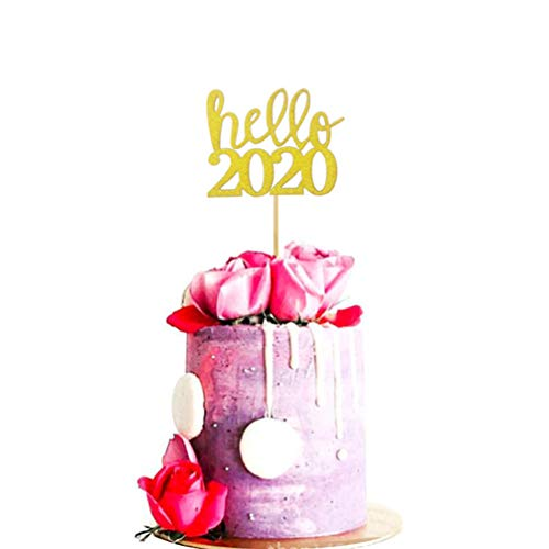 NUOBESTY Hello 2020 Cake Topper 20Pcs, Glitter Food Picks Party Cake Card Dessert New Years Eve Decoration for Birthday Wedding New Year Christmas Party Favors - Golden