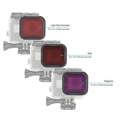Review SOONSUN 3 Pack Dive Filter for GoPro Hero 6 / Hero 5 Super Suit Dive Housing – Red,Light Red and Magenta Filter – Enhances Colors for Various Underwater Video and Photography Conditions