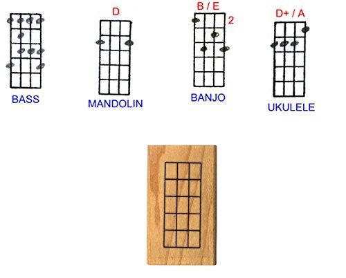 Stampola Ukulele Banjo Mandolin Chord Stamp (5 Frets) Rubber Stamp