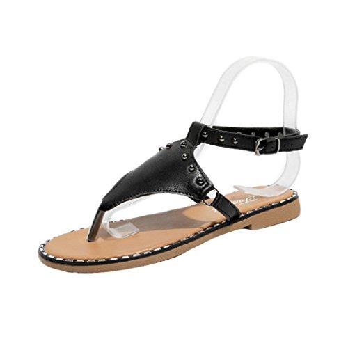 Sandals For Womens, FORUU Flats Fashion Casual Rome Rivet Style Thong Shoes (5.5, Black)