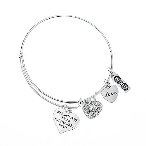 Infinity Collection Best Friends Charm Bangle Bracelet- Not Sisters by Blood But Sisters by Heart Bracelet for Women