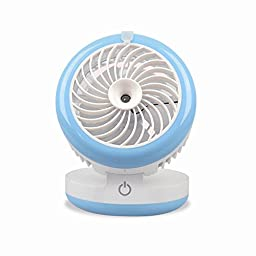 RCLITE Portable Misting Mini USB Fan with Personal Cooling Humidifier for Outdoor Hydrating Water Cooler and Home & Car Built-in Rechargeable Battery Silent (Blue)