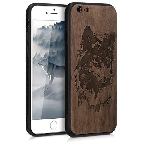 (kwmobile Wooden Protection case for Apple iPhone 6 / 6S - Hard case with TPU Bumper Wolf Head Walnut)
