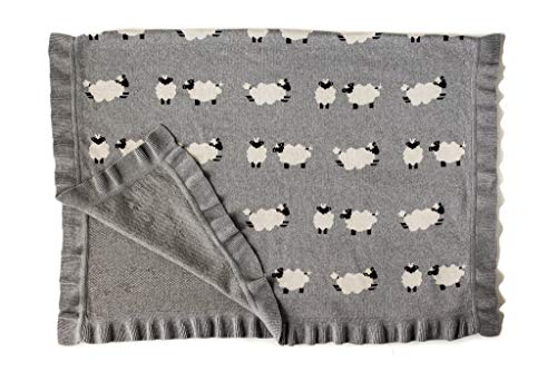 (Luxury Sheep Baby Blanket | Newborn Baby Shower Gift for Boy or Girl in Deluxe Gift Box | 100% Cotton Warm Baby or Toddler Blanket)