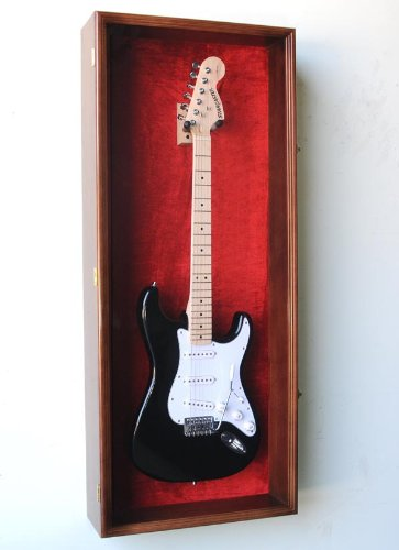 Guitar Fender Display Case Cabinet Wall Rack w/ UV Protection- Lockable -Walnut