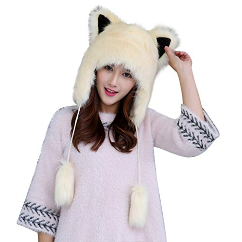 Crytech Women Cute Faux Fur Earmuff Winter Hats, Adjustable Warm Plush Fluffy Trapper Snow Cap with Earflap Furry Thermal Ski Cap Ear Warmer Motorcycle Skiing Hat Christmas Costume Gift (Beige)