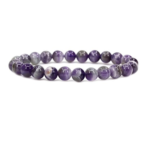 Natural Light African Amethyst 8mm Round Beads Stretch Bracelet 7