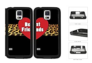 Red Heart Leopard Stripe Best Friends Set Rubber Silicone TPU Cell Phone Case Samsung Galaxy S5 SM-G900