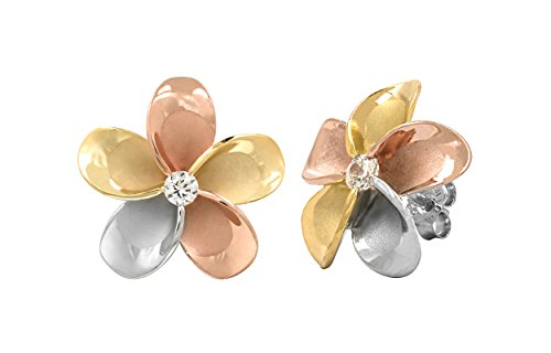 (14k Gold Tri-Color Plated Sterling Silver Plumeria CZ Stud Earrings (11 Millimeters) )