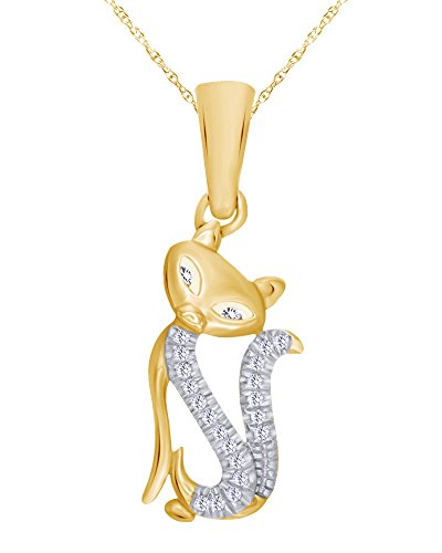 Round Cut Diamond Accent Cat Pendant Necklace in 10K Gold (Pendant Diamond Accent Clover)