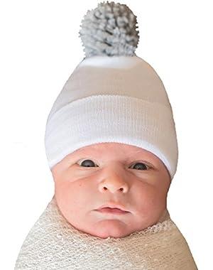 Melondipity White Hospital Hat with Grey Pom Pom Newborn Boy Hospital Hat
