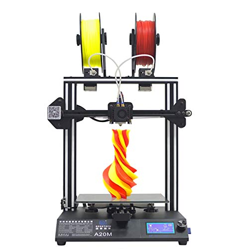 GEEETECH A20M 3D Printer with Mix-Color Printing, Integrated Building Base & Dual extruder Design, Filament Detector and Break-resuming Function, 255255255mm, Prusa I3 Quick Assembly DIY kit.