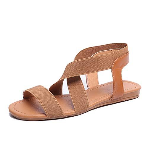 Festnight Flat Sandals for Women, Women Flat Sandals Elastic Strap Slip On Rome Style Low Heels Ladies Beach Summer Shoes