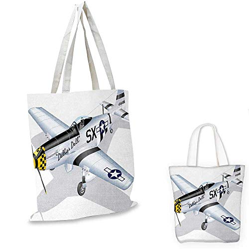 "Vintage Airplane canvas laptop bag P-51 Dallas Doll Detailed Illustration American Air Force Classic Plane canvas tote bag with pockets Multicolor. 16""x18""-13"""