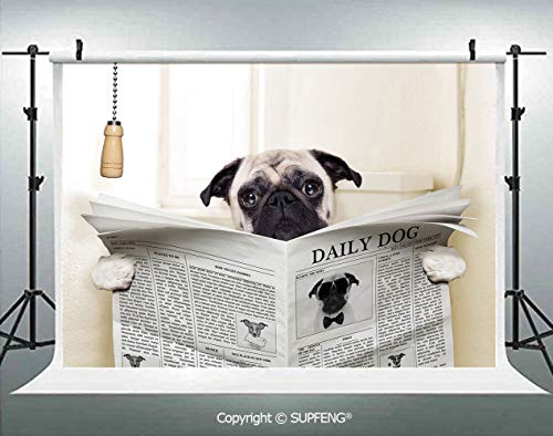 Background Puppy Reading The Newspaper on The Toilet Bathroom Funny Image Pug Joke Print 3D Backdrops for Interior Decoration Photo Studio Props]()