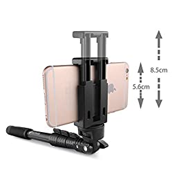 Selfie Stick, Arespark Self-portrait Monopod Wireless Bluetooth Selfie Stick With Adjustable Phone Holder, Extends to 50 Inches