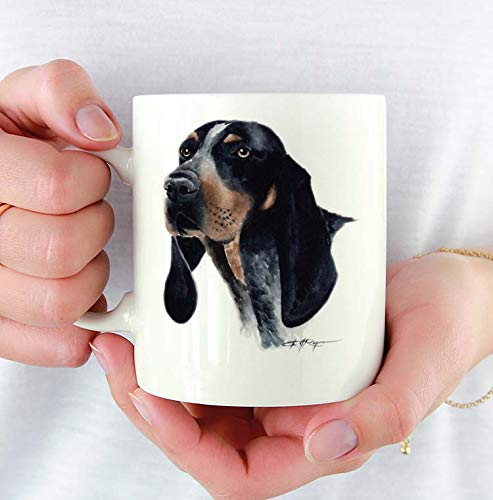 Bluetick Coonhound Custom 11oz Mug With Dog Art Featuring Watercolor Painting by Artist DJ - Mug Dog Coonhound