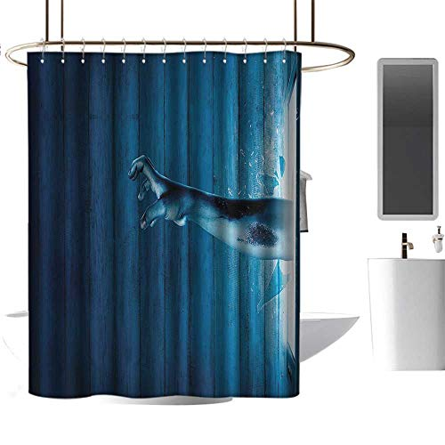 (Brandosn Shower Curtains with Shower Hooks Horror House Decor,Zombie Hand Come Out from Television Undead Being Devil Fantasy Themed Artwork,Blue Free Punching in The Bathroom W72 xH96 inch)