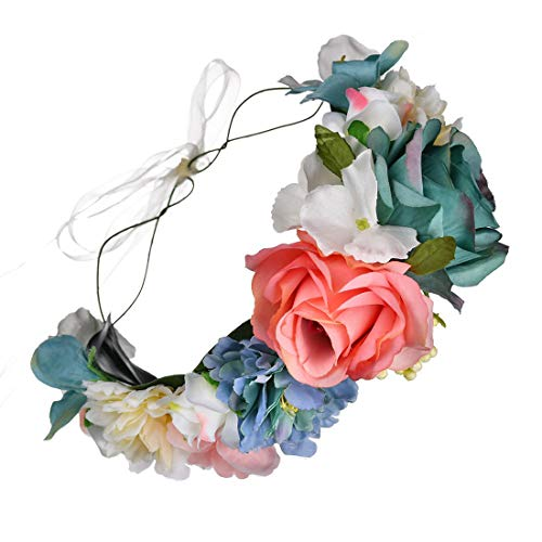 DDazzling Beautiful Women's Floral Crown Hair Accessory Flower Crown Flower Headband (Tiffany Blue Coral Ivory) -