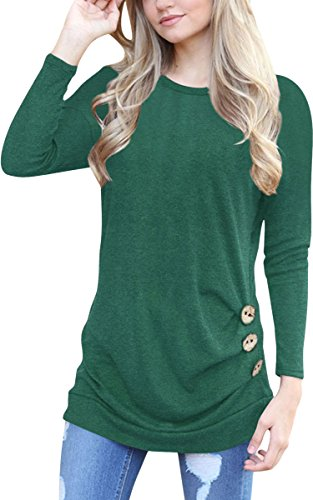 ECOWISH Womens Casual Long Sleeve T-Shirts Buttons Decor Blouse Loose Tunic Tops,US S,Green