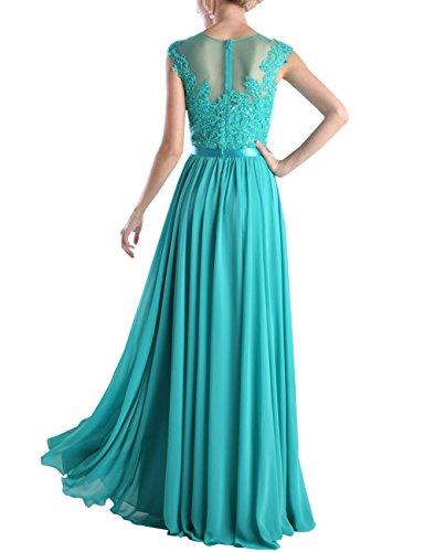 Bodenlänge mit Blau Blume A Abendkleid Erosebridal Rüschen Chiffon qagwTT8d