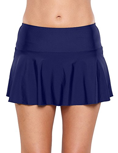 Lookbook Store Women's Navy Blue Bikini Bottm Swim Skirt Swimsuit M (US 6-8) ()