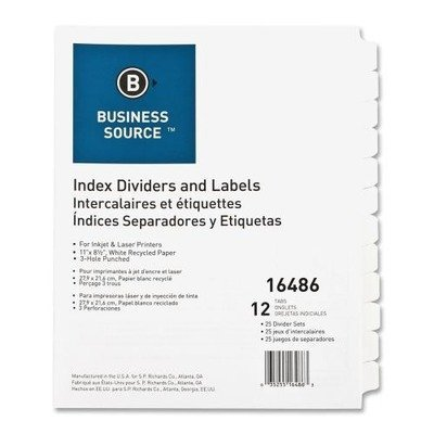 Business Source Customize Index Divider - 12 x Divider - 12 x Tab Print-on - 25 / Box - White Divider - White Tab by Business Source
