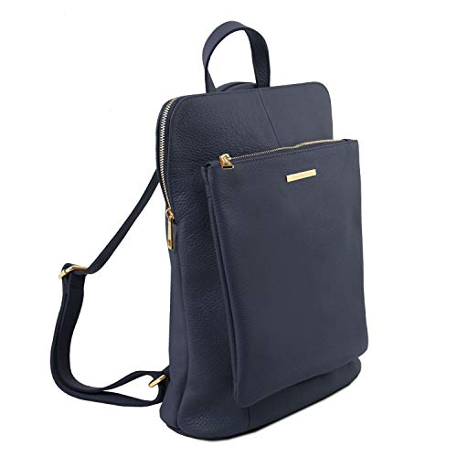 Dos Femme TL en à Sac Foncé Rouge TL141682 Souple pour Cuir Tuscany Bleu Bag Leather XxZn580